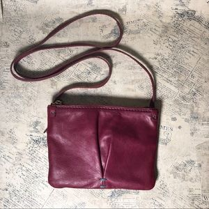 49 square miles red leather crossbody bag